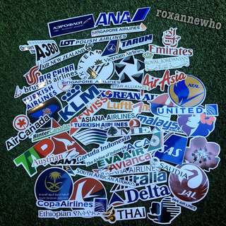 52pcs Airline Waterproof Stickers