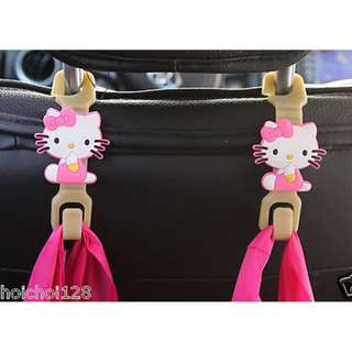 Cute Pink Hello Kitty Car Back Seat Headrest Hanger Holder Hook