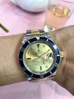 Rolex 16613 金鋼Submariner 鑽石字