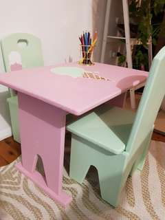 Vintage Children's wooden table and chairs