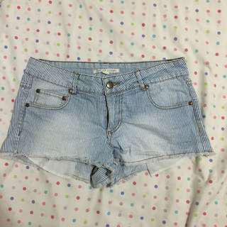 FOREVER 21 Striped Denim Shorts
