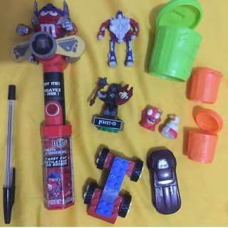 M & Ms optimus prime transformers, Lego, Hotwheels, kre-o and trash pack