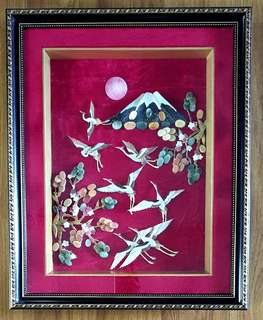 Jade and Shell Art Wall Deco-Crane Bird