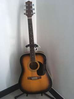 Guitar with kapo, stand and pick
