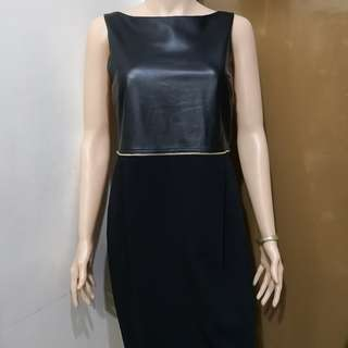 Atos Lombardini Viscose and Genuine Soft Leather Sleeveless Black Dress - Made in Italy