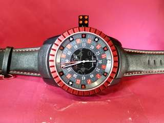 GV2 by Gevril , 瑞士制機械自動(不需電池)大錶面48mm, 錶底輪盤設計,全新有紙有盒有吊牌。戴它到澳門或拉斯維加斯也許會增加運氣。 適合完美主義人士。