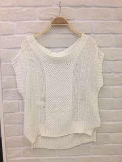 🚚 🇯🇵品牌薄針織上衣,可以單穿也可搭配小可愛,下擺側邊開叉修身,胸圍:38,衣長:56cm