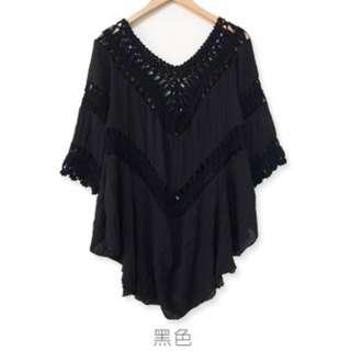 🚚 V領棉麻編織長版短袖(黑色)