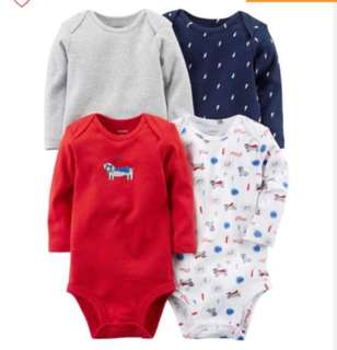 🚚 *NB* Brand New Carter's 4-Pack Long Sleeve Bodysuits For Baby Boy
