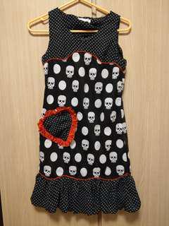 日系少女可愛punk波點連身裙 心型口袋 骷顱頭圖案