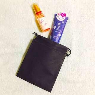5pcs x 20*15cm Non Woven Black Drawstring Bag