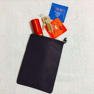 5pcs x 18*13cm Non Woven Black Drawstring Bag