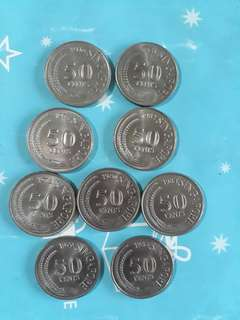 Old 50 cent coin 1976 to 1984 (9pcs)