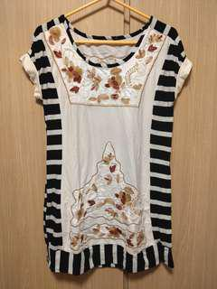 Floral pattern stripe one piece or top