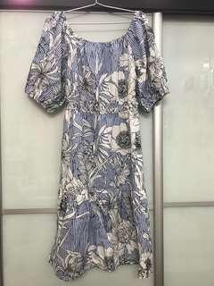 Zara-inspired Blue & White Striped Floral Print Off-Shoulder Midi Tunic