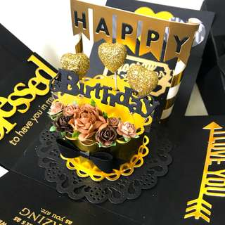 🚚 Happy birthday Explosion Box card in gold and black theme