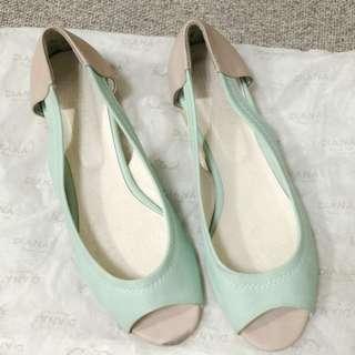 免費贈 專櫃品牌 韓製 氣質 蘋果綠粉嫩系 魚口鞋 平底鞋 淑女鞋