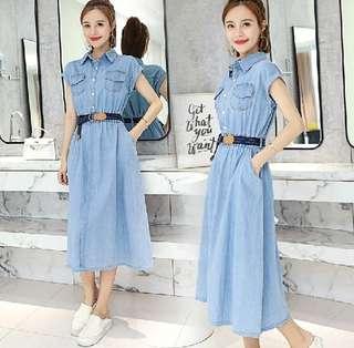 79603 #新款牛仔收腰顯瘦森長裙  尺码: XL L M S   颜色: 淺藍