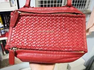 GIVENCHY Pandora Mini 鮮紅色編織面 100% REAL 70% NEW