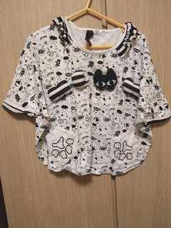 立體Meow黑白貓圖案上衣 Cat top