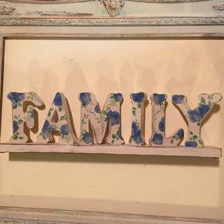 Wooden Blue Rose Family Sign