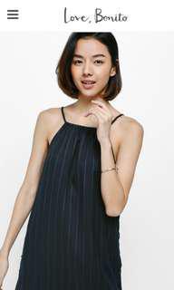 BNWT Love Bonito SizeM Shea Pinstriped Side Button Midi Dress