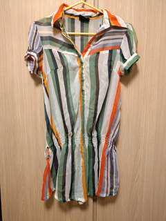 Rainbow 彩色直紋間條輕薄半透長身上衣