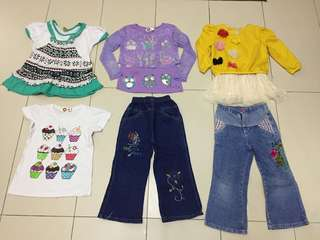 6pcs Set girl clothes size 5y with pos