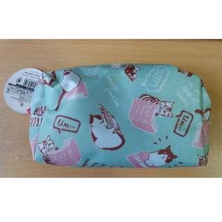 ($100/3件) 日本, 化妝袋, 筆袋, 綠色, 粉紅, 貓, pen bag, 收納袋