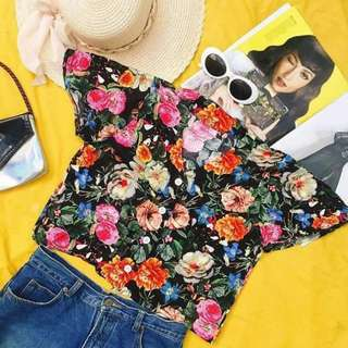 Floral polo semi croptop