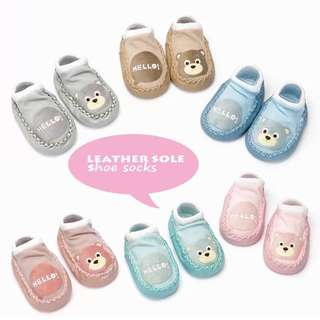 BABY ANTI-SKIP LEATHER  SOLE SHOE SOCKS