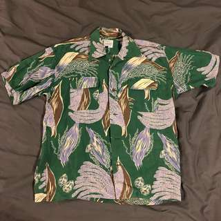 古著 短袖襯衫 綠 紫 樹葉 花紋 夏威夷襯衫 日本製