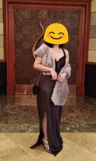 Full Length Gown with Fur Shawl for Sale (Repriced)