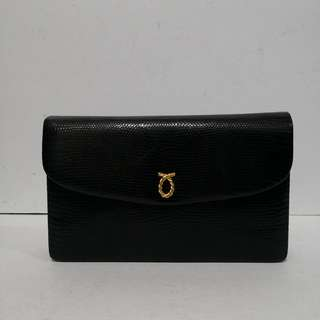 Launer London Stamped Lizard Black Leather Two-way Clutch / Shoulder Bag