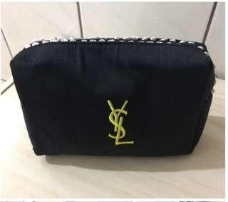 YSL 金線邊 金色刺繡LOGO 黑色 化妝袋 雜物袋 ~專櫃VIP贈品