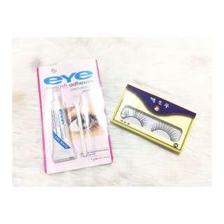 False eyelashes and eyelash glue set