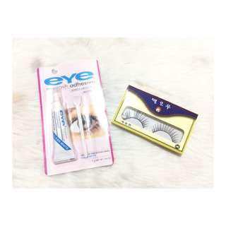 False eyelashes and eyelash glue set