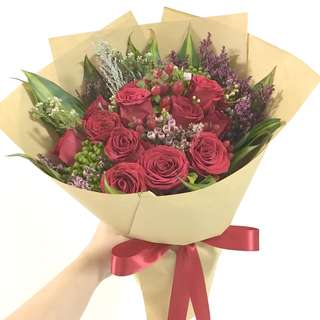 12 red roses bouquet with rustic fillers in kraft paper / Anniversary Flowers