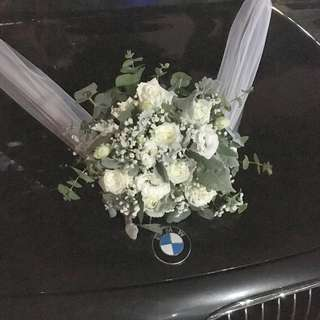 Wedding Car Decoration in Rustic White Roses with Mix Fillers / Wedding Car