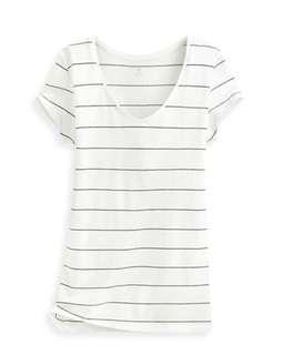 全新 lativ V領條紋短袖T恤(XL)