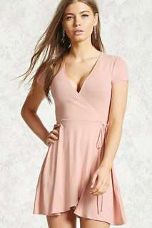 FOREVER 21 SURPLICE WRAP DRESS - GREY and PINK