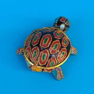 Vintage Chinese Black Cloisonne Turtle Statue Trinket Jewelry Box