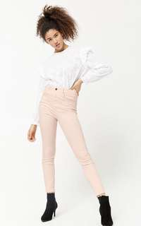 Forever 21 baby pink HW skinny jeans