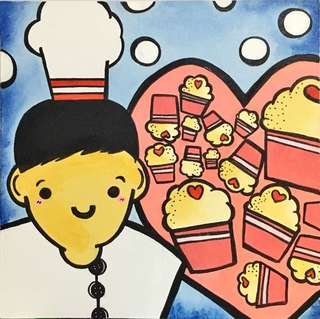 Baker and Lovely Cupcakes (Canvas Art)