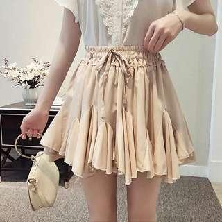 氣質杏色蓬蓬荷葉立體短裙