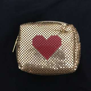 韓版金色愛心隨身包小袋子零錢包鑰匙包