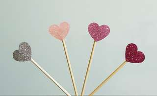 🚚 Mini Hearts Cupcake Toppers/ Cake Toppers (Brand New)
