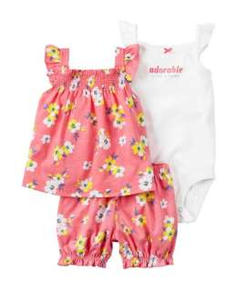 🚚 *9M* Brand new Carter's 3-Piece Bubble Short Set For Baby Girl