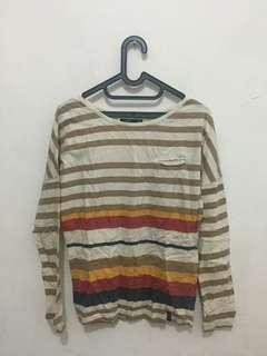 Baju stripe putih coklat