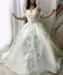 White ball gown for rent debut wedding formal gown